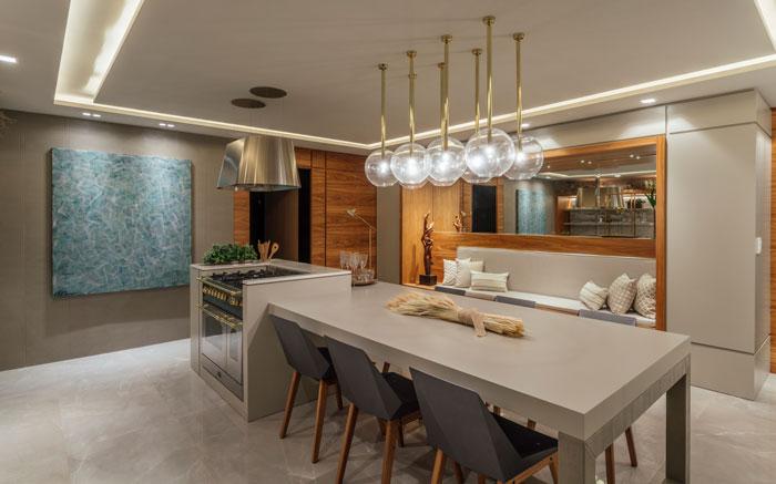 Área Gourmet elegante com porcelanato polido
