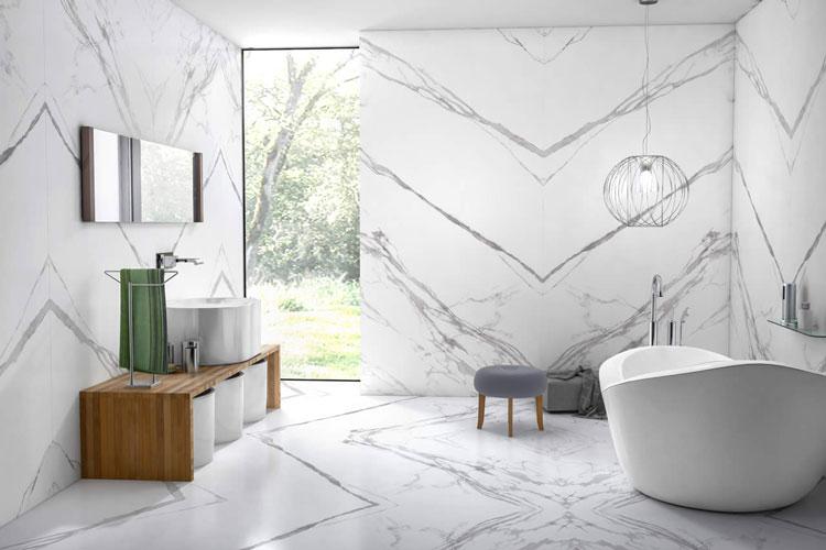 1 Porcelanato com efeito de mármore branco para bancada Eliane Revestimentos Marmo Branco