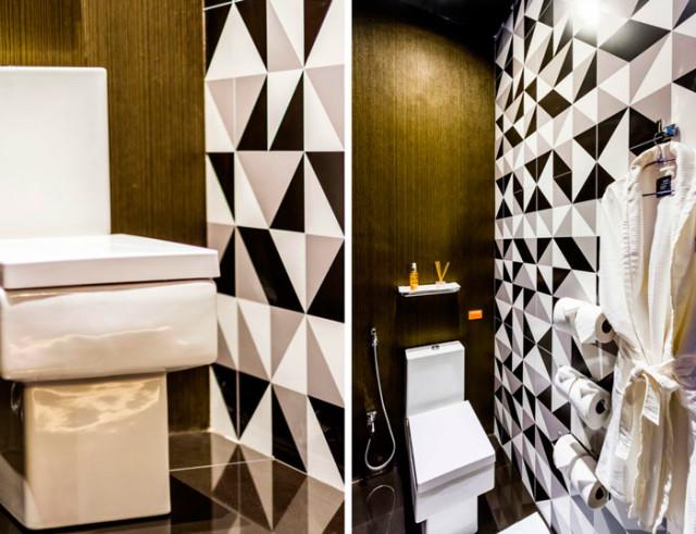 11 Sala de Los Sentidos - Arquiteta Katherine Jordán - Banheiro - Nero PLus PO 60x60 - azulejo geometrico - Bauhaus AC 45x90