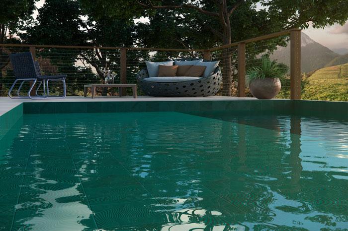 4 Patch Wave Jade azulejo de piscina verde da Eliane