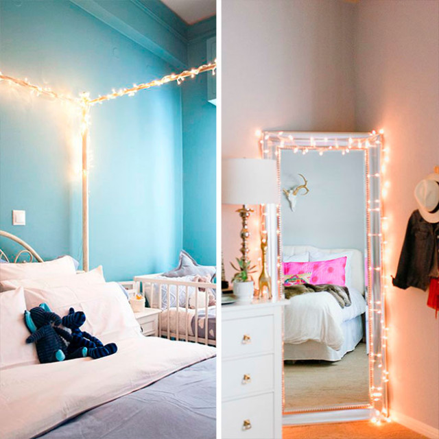 4 decorando o quarto com luzes de natal