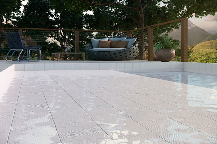 5 Piscina branca azulejos Eliane Patch Wave Branco