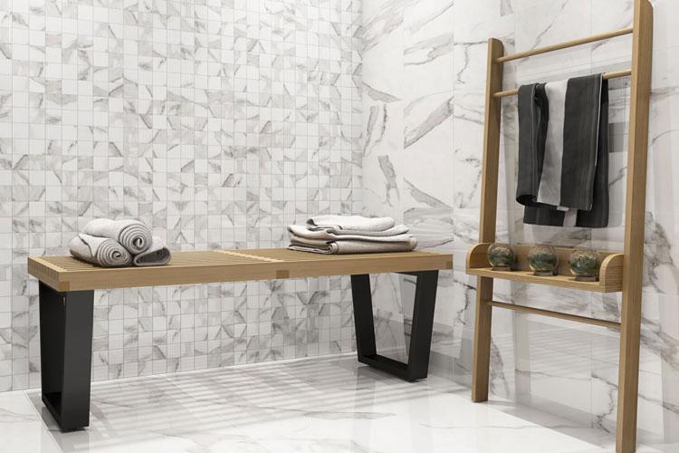 7 Cerâmica com efeito de mármore Carrara Eliane Revestimentos Linha Rome
