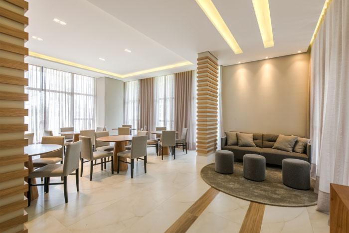 7 Pisos para salão de festa - Porcelanato Ônix Cristal - Projeto Miró & Carvalho Arquitetura - Foto Marcelo Stammer