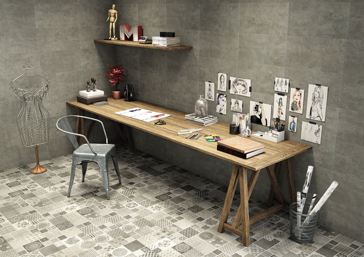 8 Porcelanato home office de moda Ladrilho Cimento Eliane