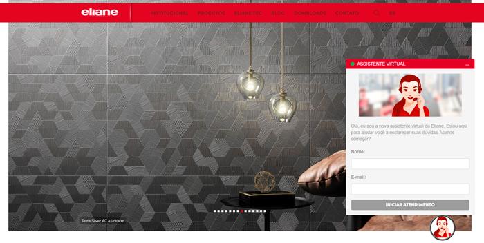 Ane - Assistente virtual Eliane tira dúvidas dos clientes no site da marca