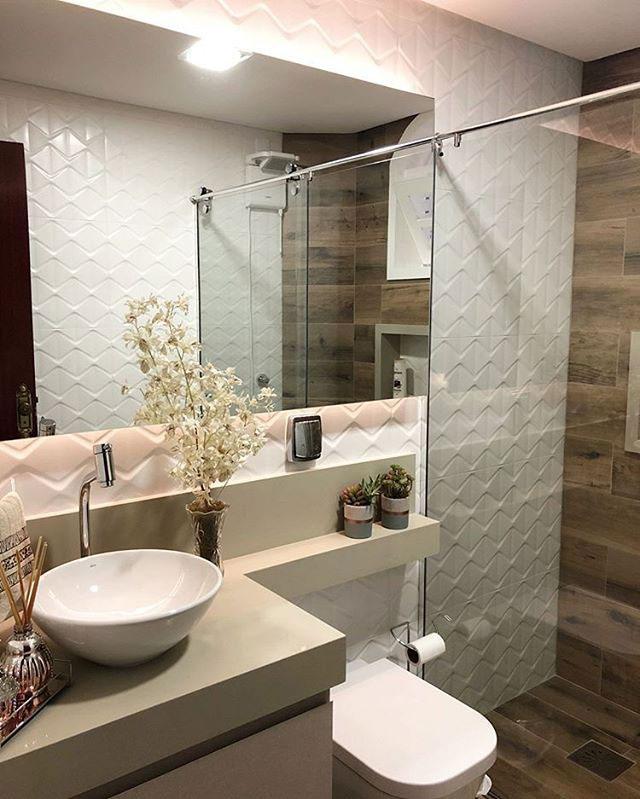 Revestimentos para banheiro Eliane Revestimentos - Azulejo Cartier Blanc e Porcelanato Reserva Natural