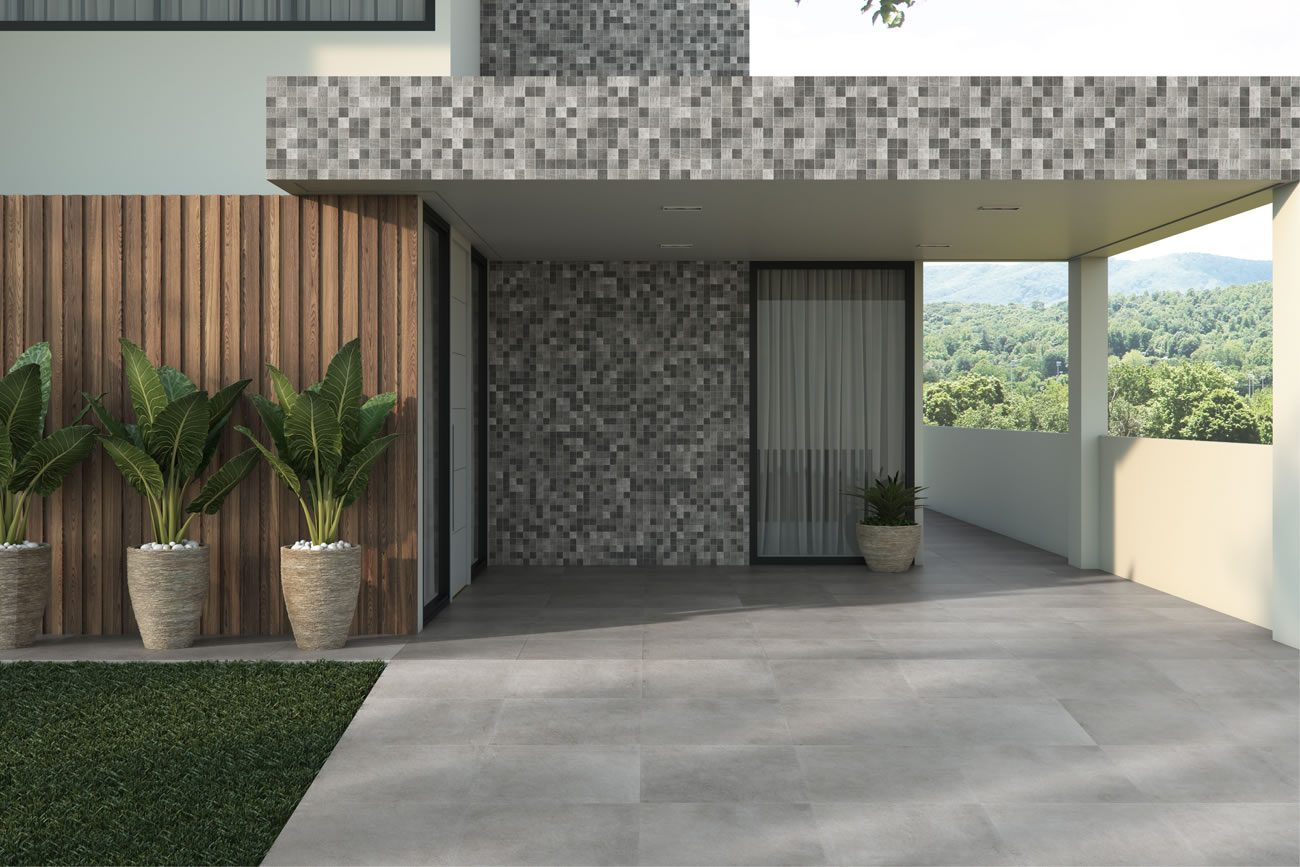 environment Eliane: basalto-grafite-mesh-ma-7,5×7,5cm_brera-cimento-ext-90x90cm-amb