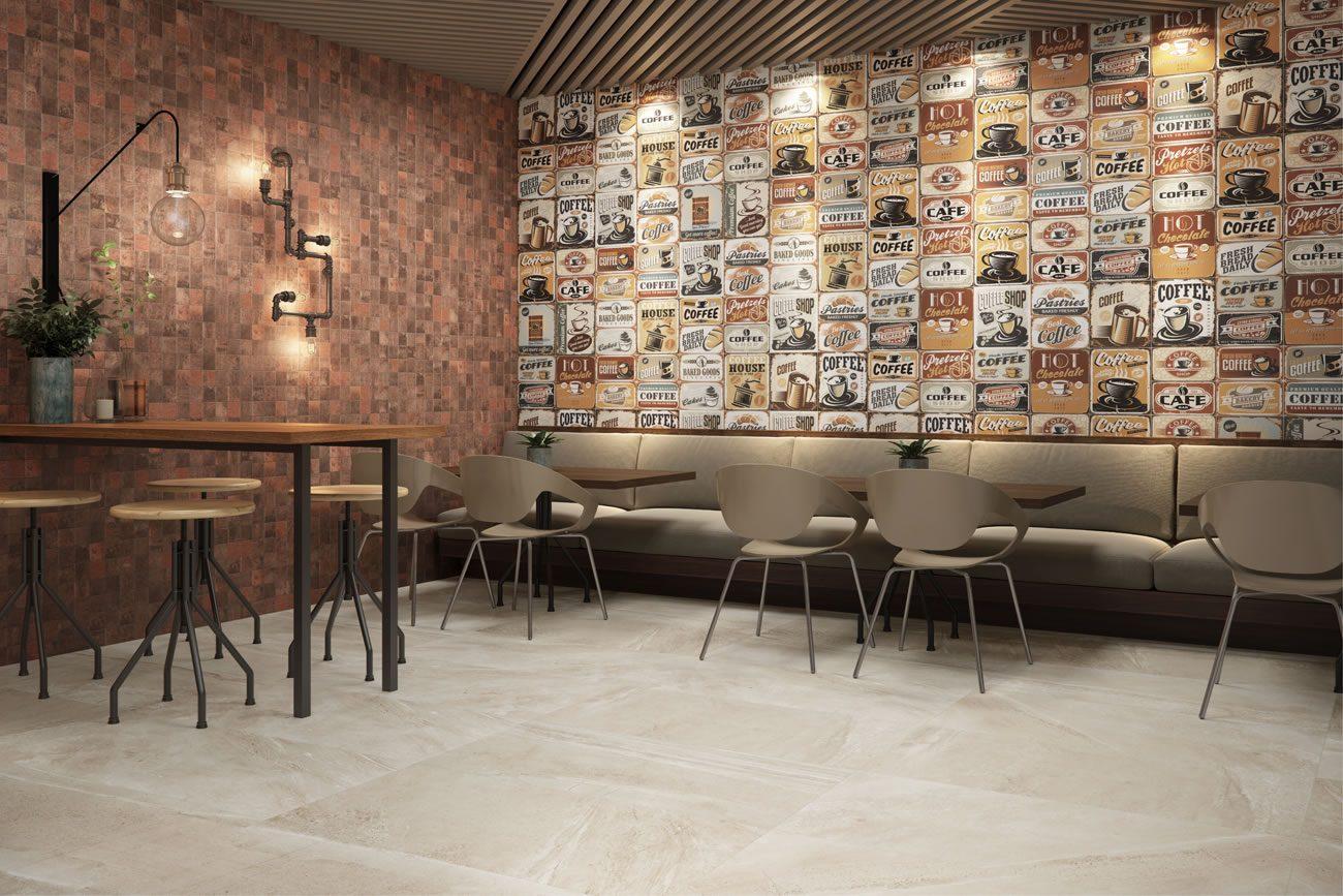 Ambiente Eliane: poster-espresso-ac-33,5x60cm_oxy-corten-mesh-ma-7,5×7,5cm_arenaria-bege-ac-59×118,2cm-amb