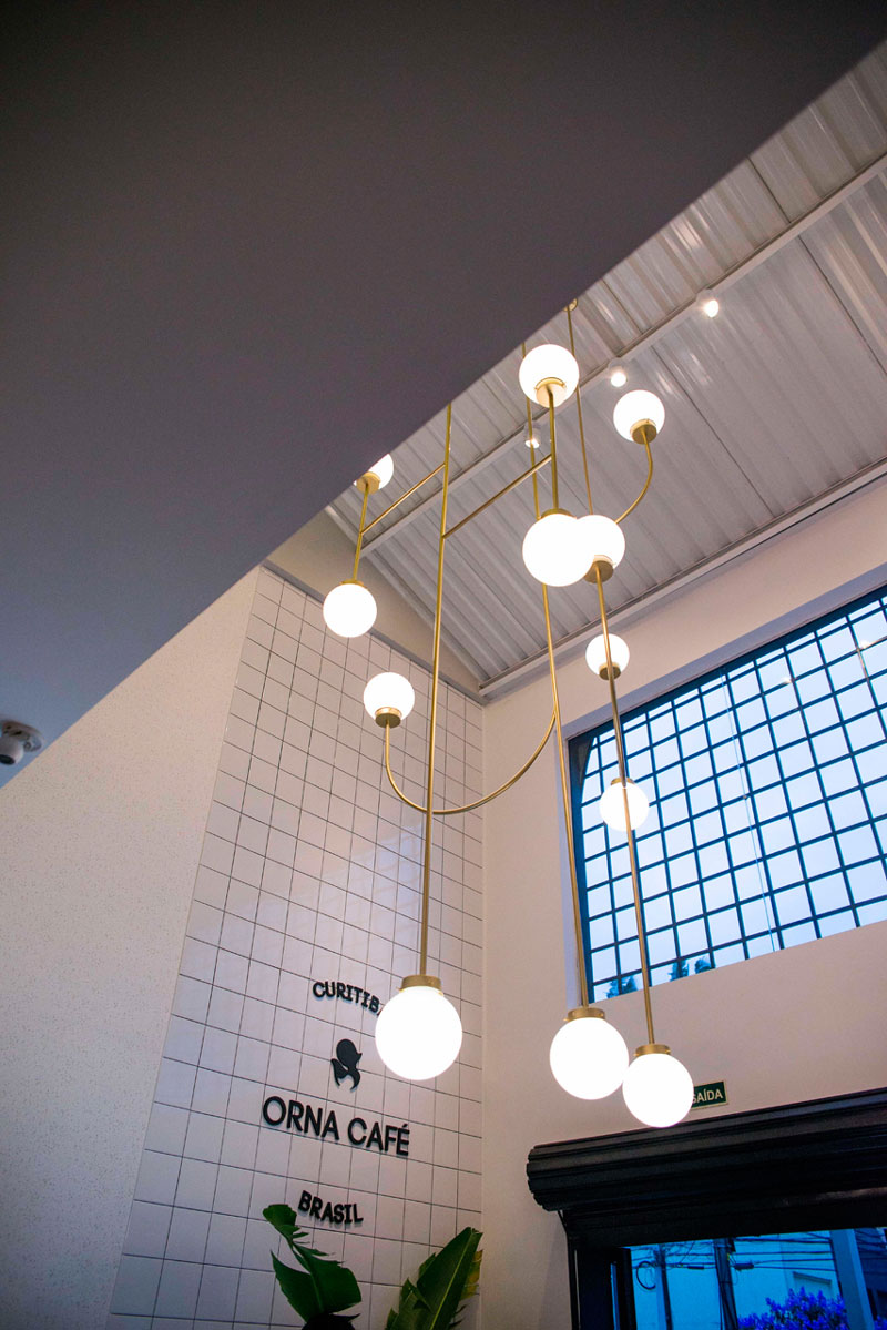 azulejo branco proposta moderna cafeteria