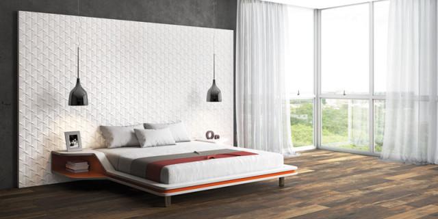 azulejo parede texturizado na cabeceira da cama eliane revestimentos cerâmicos