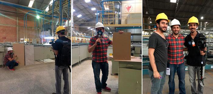 bastidores das gravações de youtuber na fábrica da eliane