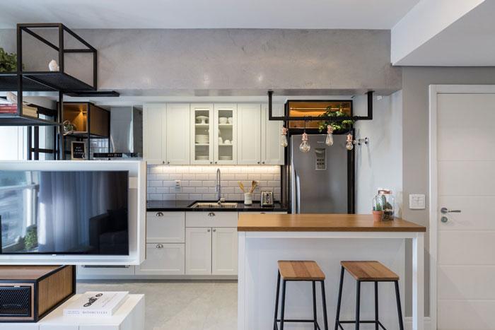 cozinha primeiro apartamento com azulejo metrô white eliane revestimentos projeto bo arquitetura