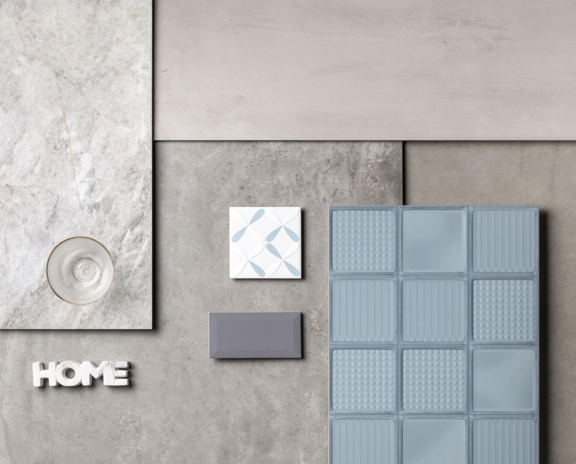 London AC 59×118,2cm | Flat AC 90x90cm | Metro Grey 10x20cm | Calf PO 90x90cm | Alfa Azul AC 15x15cm | Glass Blue 45x90cm