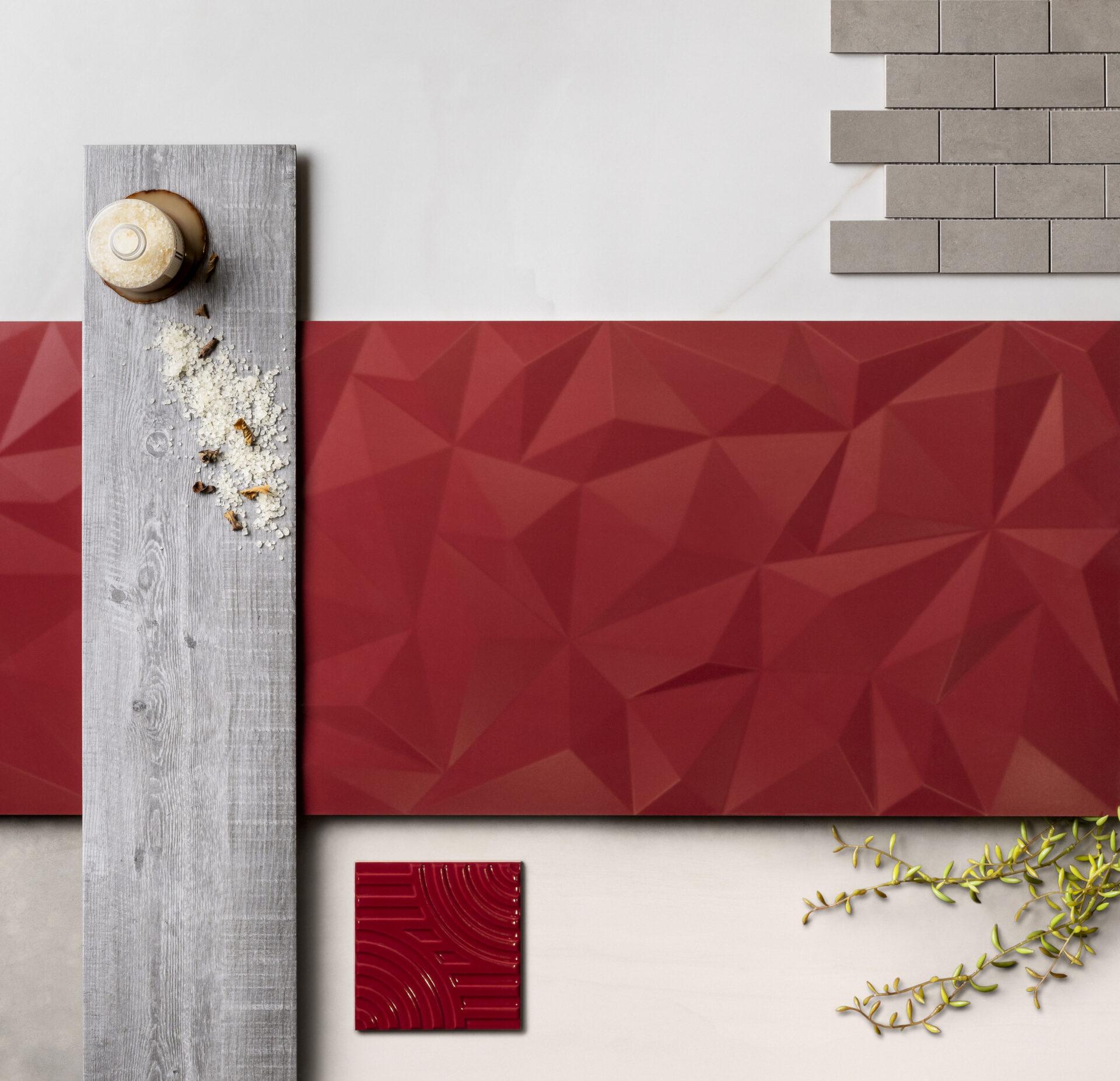Poligon AC Red 45x120cm | West Red Arch AC 15.5×15,5 cm | Onyx Cristallo 59×118,2cm | Munari T-4000 Graffiti 30x30cm | Safari Fume MA 19.5×91,2ccm