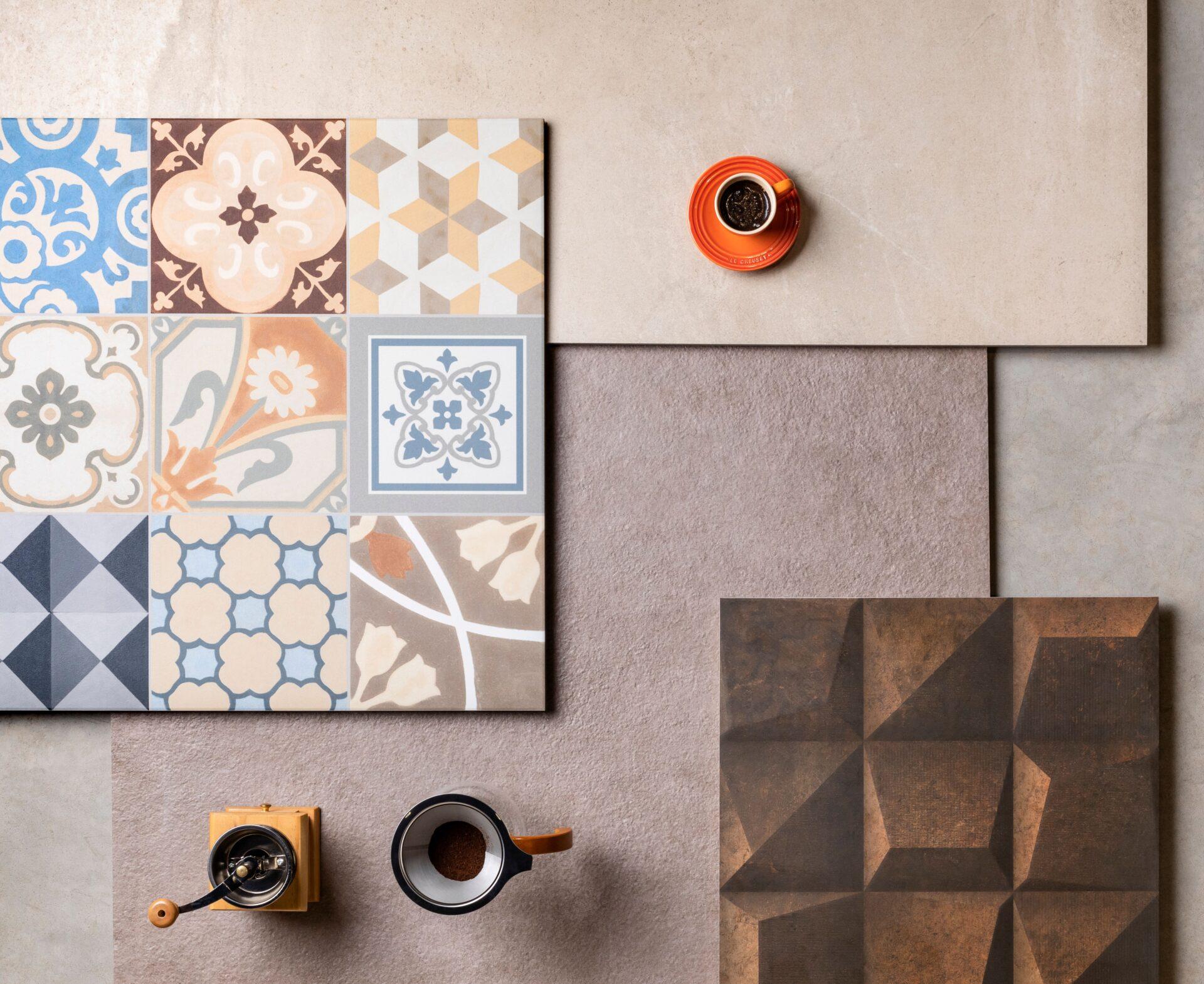 Rodin Shadow Corten Ma 45x90cm | Essence Decor AC 60x60cm | Brera Terra EXT 90x90cm | Arenaria Bege AC 59×118,2cm