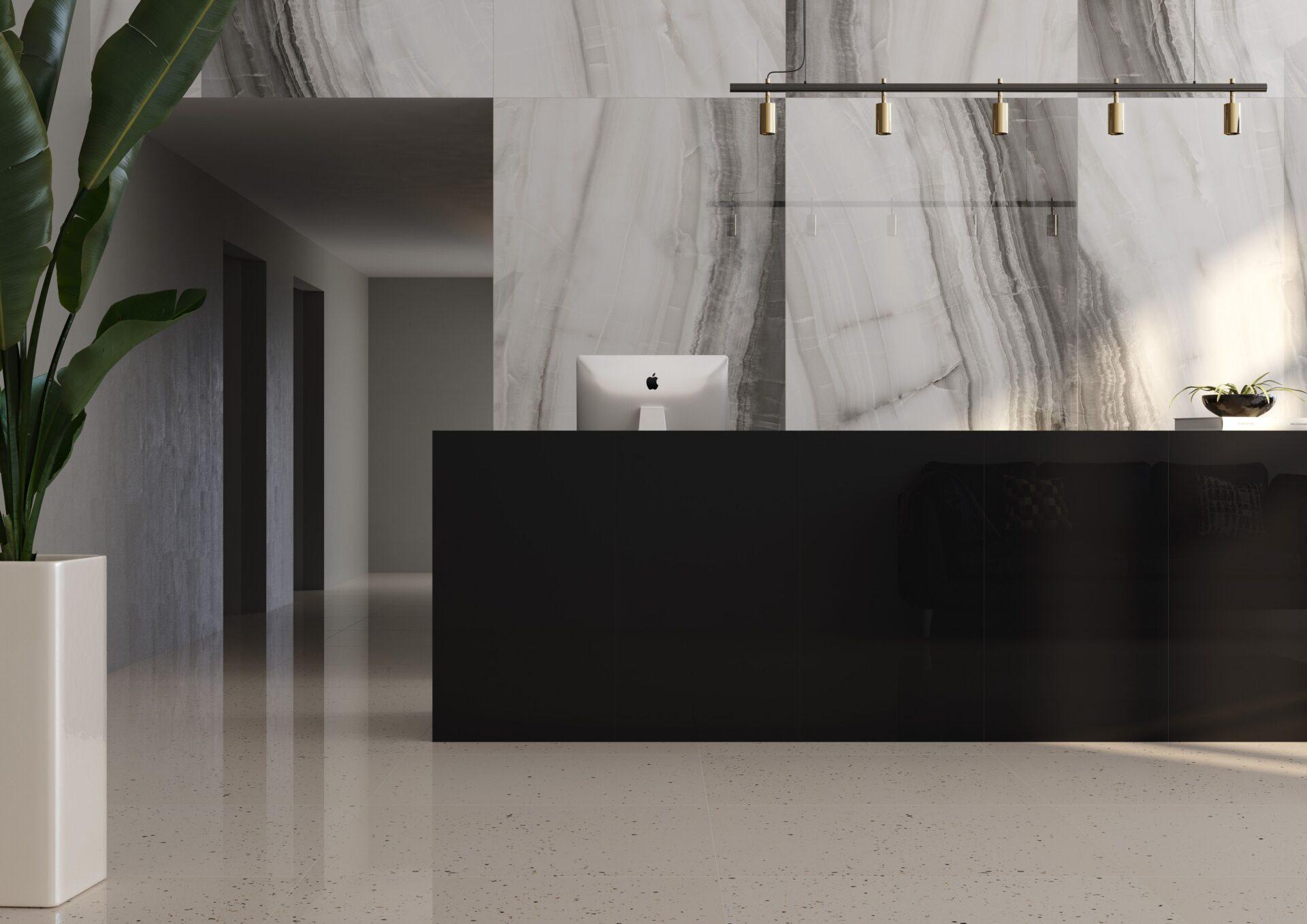 Sílex Branco PO 90x90cm | Stelar Black PO 59×118,2cm | Ônix Grafite PO 120x240cm