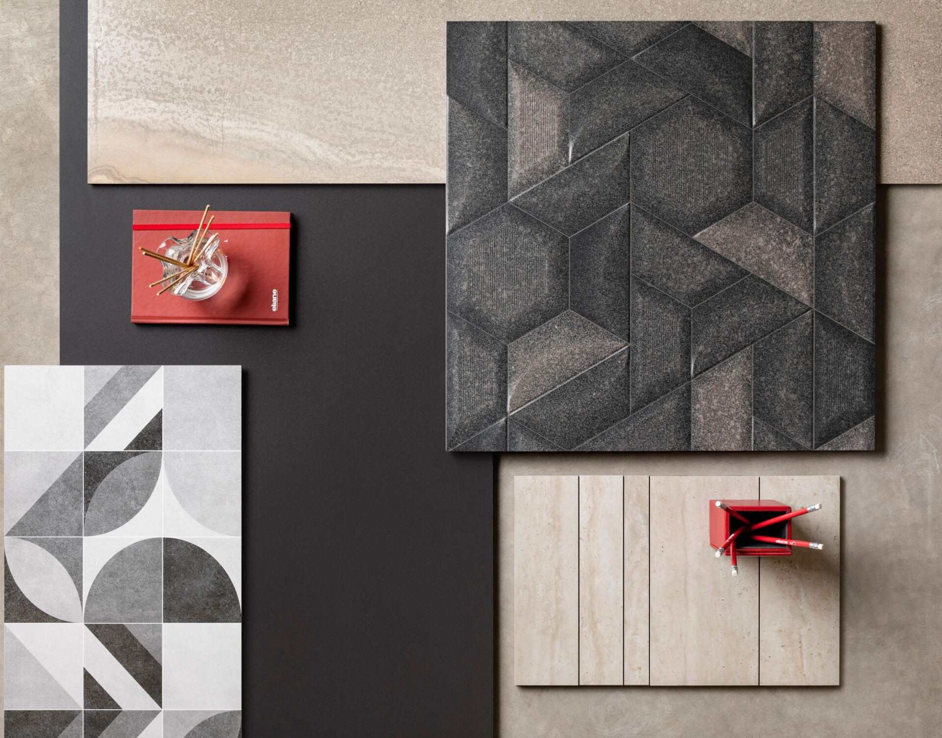 Trapezoid graphite 59x59cm | Malaga AC 32,5x59cm | Venus Bege AC 59X118,2m | Stelar Black NA 59×118,2cm | Delphi Ivory AC 29x45cm