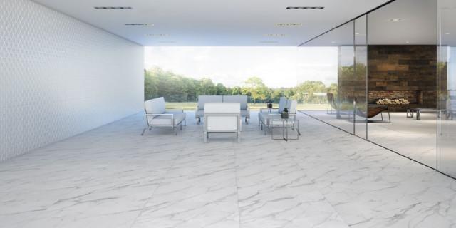 piso porcelanato com efeito de marmore calacata eliane revestimentos